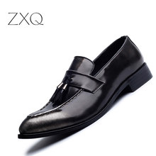 Fashion Tassel Men Shoes Leather Moccasins Mens Loafers Casual Pointed Toe Shoes Men Flats Brand Luxury Black Red