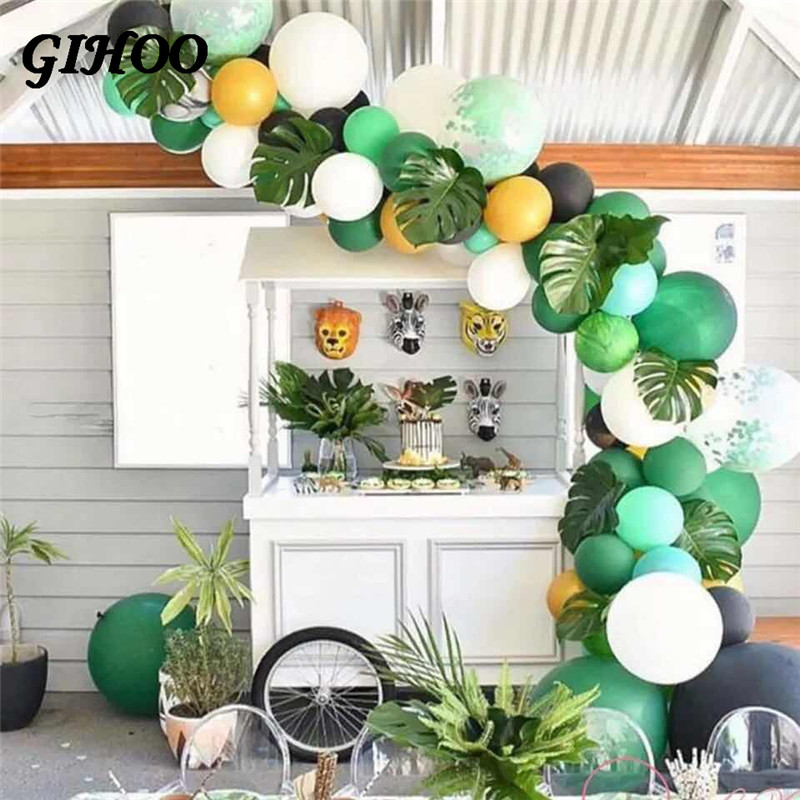 Image 4 - 5PCS Gold Green High Quality Fake Leaf Artificial Tropical Palm Leaves DIY Plant Home Party Wedding Table Desk Decoration Supply-in Artificial Plants from Home & Garden