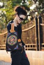 Бесплатная Доставка! Горячее Сбывание 2014 Двухместный плечо женская рюкзаки вышитые сумки джинсовой вышивка рюкзак женщин Рюкзаки
