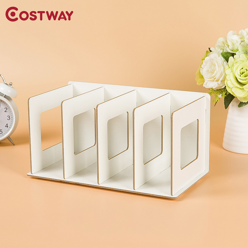 COSTWAY Simple Bookshelves DIY CD Racks Wooden DVD Racks Dormitory Bedroom Storage Shelves Bookcase Boekenkast Librero W0133 360 degree rotation simple bookshelves multi storey floor bookcase shelves children s dormitory shelter