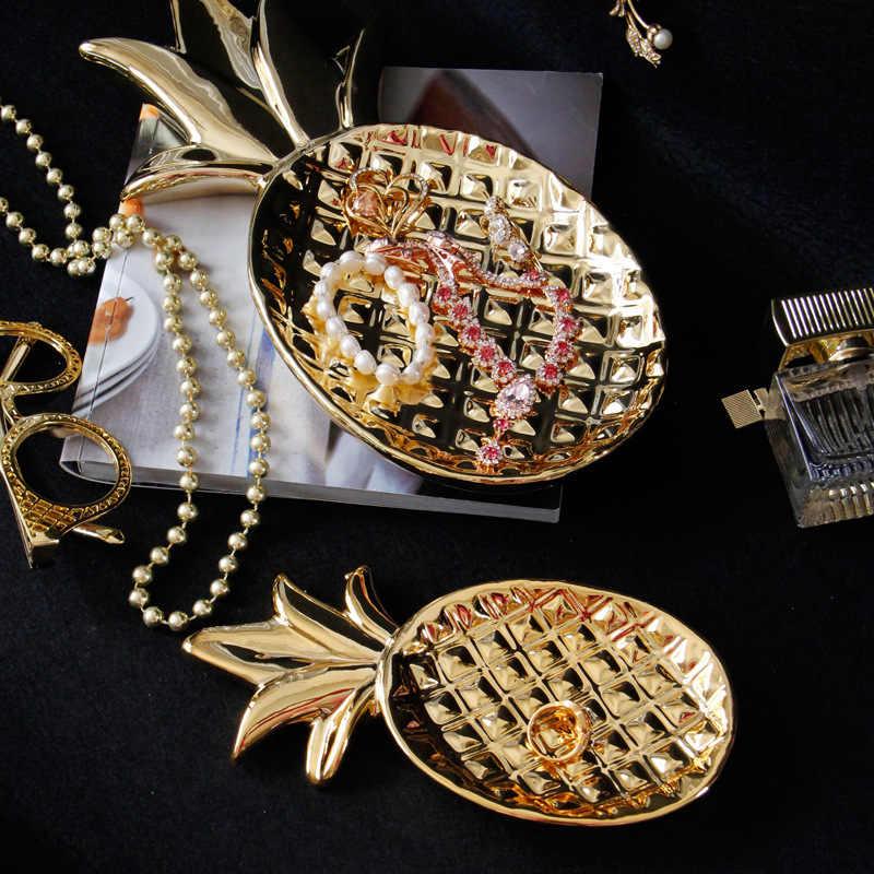 VILEAD 12 ''7.8'' In Ceramica Ananas Piastra Figurine Placcatura In Oro Ananas Vassoio di Gioielli Decorazione Moderna Piatto di Frutta Complementi Arredo Casa