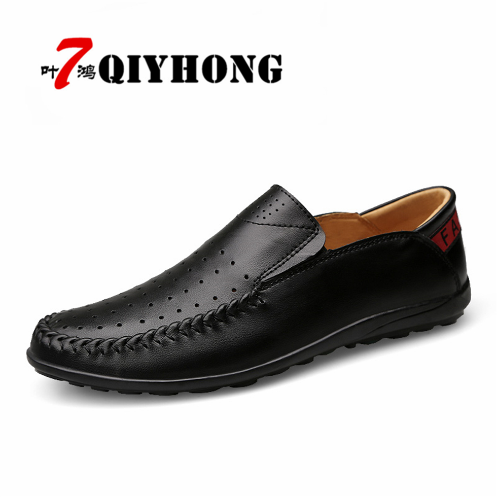 QIYHONG High Quality Genuine Leather Summer Spring /Autumn Men Flats Breathable Causal Shoes Slip-On Business Lazy Driving Shoes new summer shoes genuine leather men flats summer moccasins men shoes slip on breathable soft leather high top quality 39 44