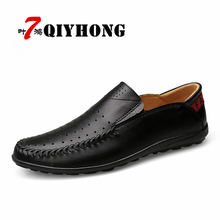 QIYHONG High Quality Genuine Leather Summer Spring /Autumn Men Flats Breathable Causal Shoes Slip-On Business Lazy Driving Shoes