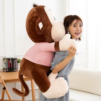 Fancytrader New Jumbo Plush Animal Monkey Doll Giant Stuffed Soft Cartoon Monkey Wearing Shirt Doll Nice Baby Gift 120cm 47inch
