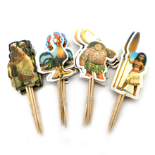 24pcs/pack Birthday Events Party Girls Favors Cake Topper Decoration Happy Baby Shower Moana Theme Cupcake Toppers With Sticks