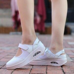 Image 4 - Кроссовки MWY женские сетчатые, дышащие, на платформе, с воздушной подушкой, повседневная обувь для медсестер, белые