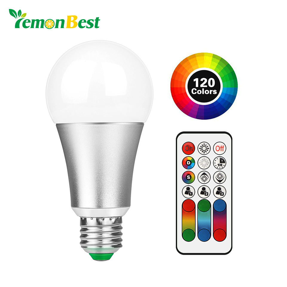 E27 B22 RGB LED Lamp 10W LED RGB Bulb AC 110V 220V 120 Colors Remote Control Led Light for Home Decoration Stage Lighting RGBW agm rgb led bulb lamp night light 3w 10w e27 luminaria dimmer 16 colors changeable 24 keys remote for home holiday decoration