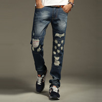 2016 Jeans Men Patchwork Designer High Quality Patched Jeans Ripped Men Rock Jeans Hip Hop Jeans