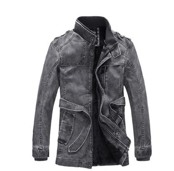 Men'S Retro Original Uniform Denim Jacket Thick Velvet Mandarin Collar Military Jacket Plus Size Winter Warm Trench Coat H3095