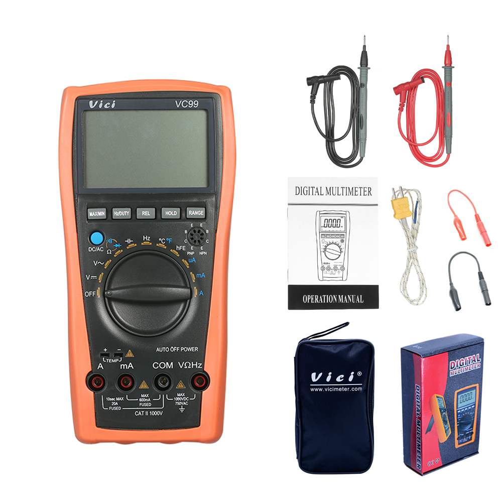 VC99 Digital-Multimeter Digital Multimetro Auto Range 1000 V DC AC Widerstand Tester Digital Voltmeter Amperemeter Kapazität Diode