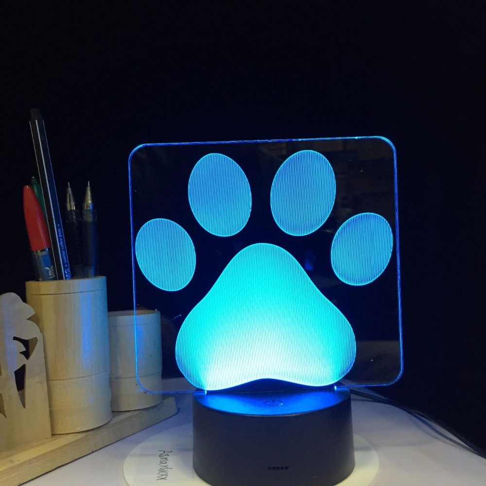 Dog Paw Footprints Modelling 3d Table Lamp Led Colorful