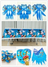 52pcs/set Mickey Mouse Theme Birthday Party Decoration Paper Plate Cup Tablecloth Flag Knife Fork Spoon For Kids Favors