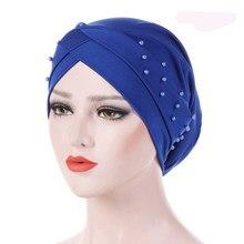 37d22361cc 1 PC Nuovo Delle Donne Elastico Turbante Cappello Musulmano Hijab Islamico  Jersey Perline Cancro Chemio Cap Signore Hijab Stretc.