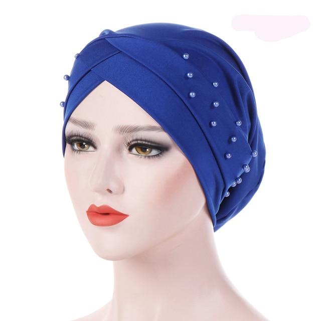 acdbcbde1f9 Fashion Women Elastic Turban Hat Muslim Hijab Islamic Jersey Beads Cancer  Chemo Cap Ladies Hijab Stretch