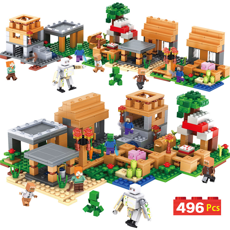 My World The Melon Farm Cottage Building Blocks Technic Compatible LegoINGLYS Minecrafted Brick Toys For Children 10472 minecrafted the fortress compatible with lego 21127 block set building brick my world educational toy hobbies for children