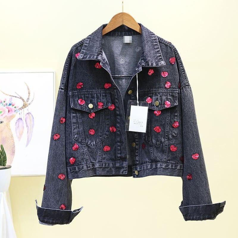 2019 Court Veste Sequin Clouté Denim Coréenne Cowboy bleu Décontracté En Amour Manteau Noir Jean Printemps De Noir Femmes Outwear vIwHqArv