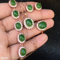 KJJEAXCMY boutique jewels 925 sterling silver inlaid natural hetian jasper pendant ring bracelet 4 piece new set lotus leaf