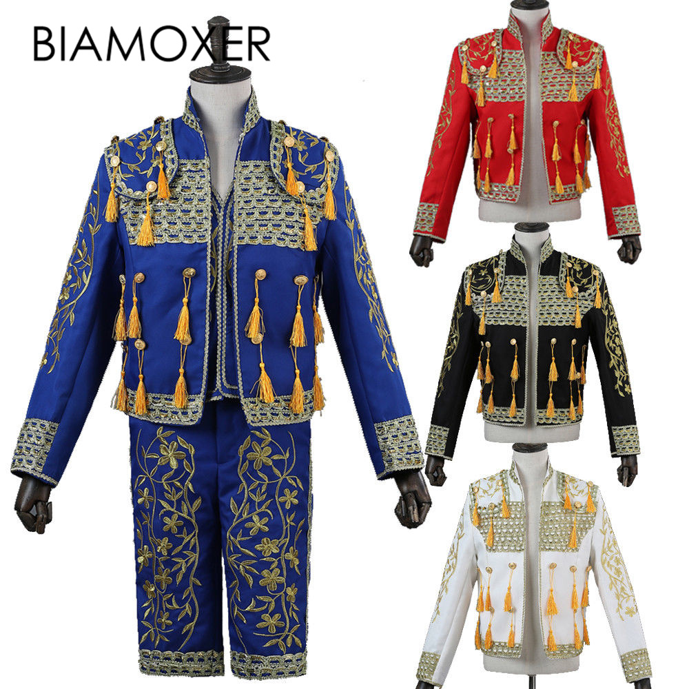 Biamoxer 3 colors Mens Spanish Bullfighter Matador Outfit Fermin Suit Jacket Pant Cosplay Costume