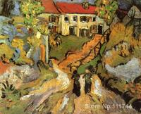 Hand Painted Art On Canvas Village Street And Steps In Auvers With Two Figures Vincent Van
