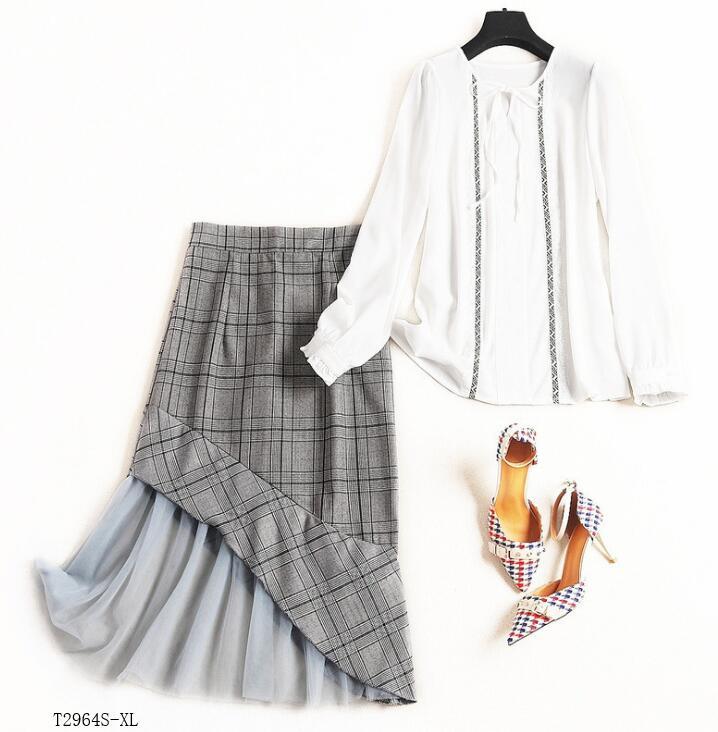 Européen Décontracté Hiver Vêtements Soie Nouveautés Jupe Costume Mode Maille Photo Color Mousseline Printemps De Blouse T2964 Femmes En Style Patchwork 2019 TqPtw0Txd
