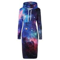 3D Print Hooded Hoodies Women Dresses Star Long Sleeve Hooded Dress Women Pullover Tracksuit Hoodies Dress Female Casualoe Vstid