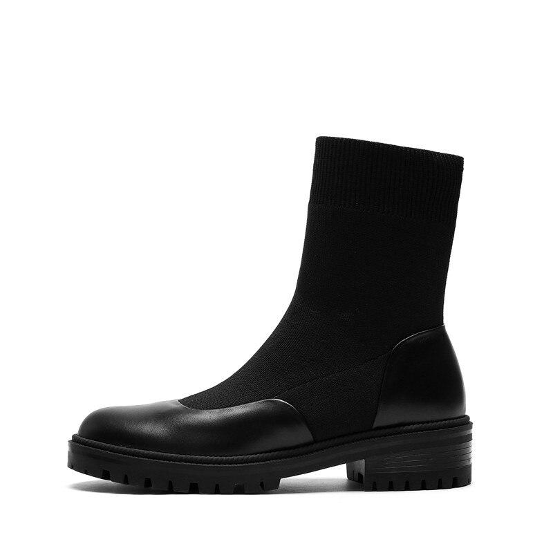 De Del Botas Mujer 2019 Moda Elástico Calcetines Genuino Cuero Las Llegada Invierno Redondo Pie Nueva Zapatos Morazora Y Botines Negro Otoño Tobillo Dedo Mujeres ndIZ8Zx