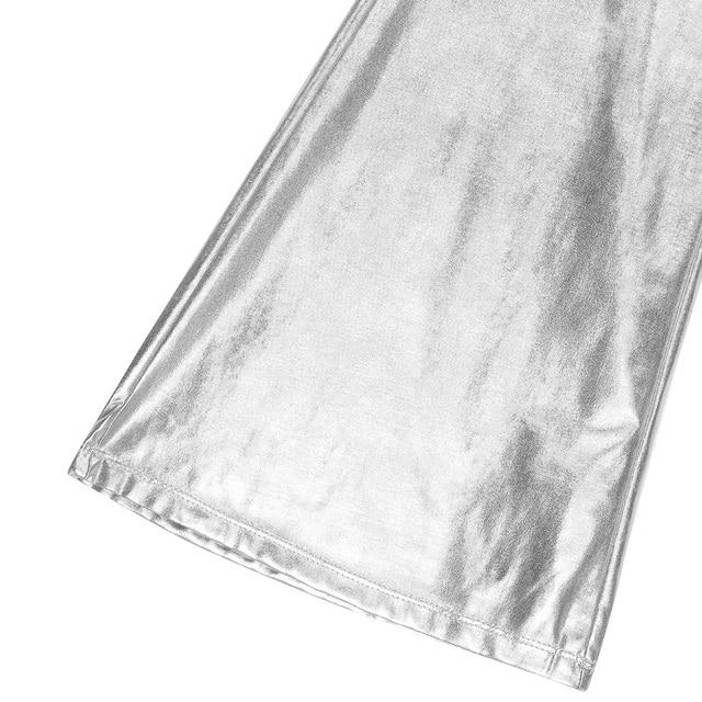 iiniim Adult Mens Punk Night Club Wear Pants Shiny Metallic Disco Pants with Bell Bottom Flared Long Pants Dude Costume Trousers 6