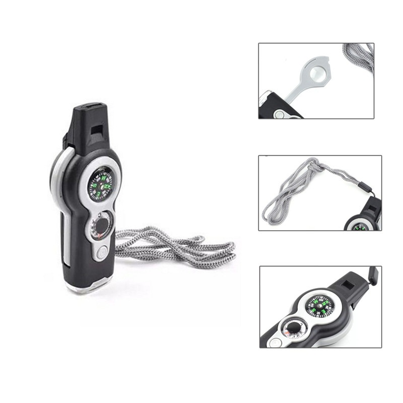 Outdoor Multifunctional Emergency Survival Whistle Compass Thermometer Magnifier Versatile With Lanyard Survival Kits Travel