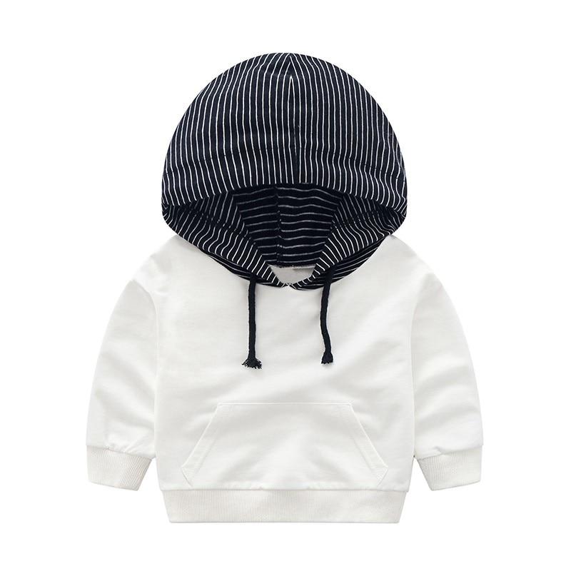 COOTELILI 80-130cm Fashion Striped Baby Girls Clothes Baby Boys Hoodies Kids Cool Hip-Hop Sweatshirt Children Tops Black White (15)