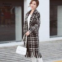 17 yeni kış elbise han baskı ahlak püskül ızgara yün ceket ceketinizin yaka uzun açık dikiş hırka ekose ceket