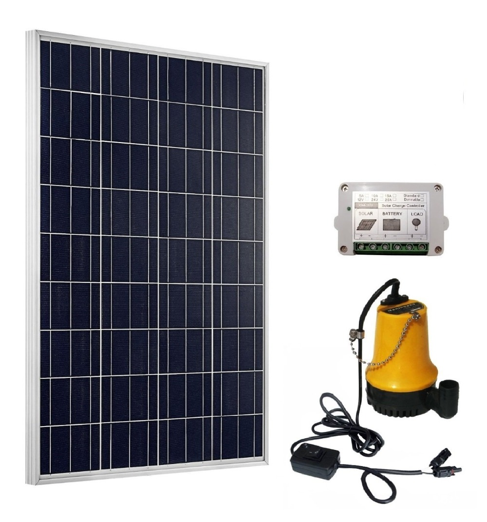 Solar Pump System Kits:100W Solar Panel & 12V Pond Water Pump & 15A Controller solar pump lake beijing olympic use feili pump solar pump solar water pump