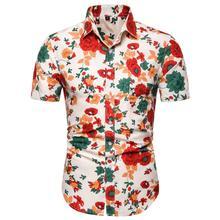 Rose Floral Slim Mens clothing Summer Blouse Men New model Shirts Hawaiian Shirt for Casual Fashion Short sleeves