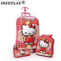 3D Anime Stereo Student Trolley Case Cute Kids Travel Suitcase Boy Girl Cartoon Lunch Bag Pencil