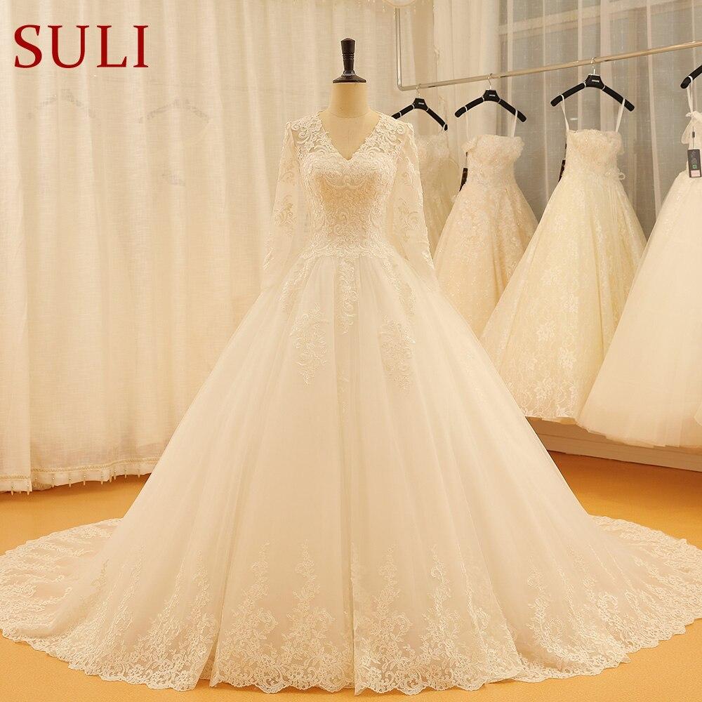 SL-522 Vintage Wedding Dresses Bridal Gown V Neck Lace 2018 Wedding Dress Long Sleeve(China)