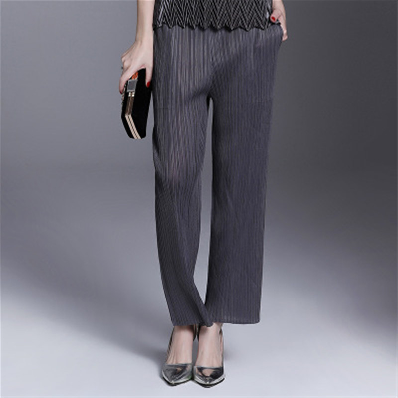 Miyake folds straight casual trousers loose pleated light blue large size wild ladies   wide     leg     pants   straight   legs   straight