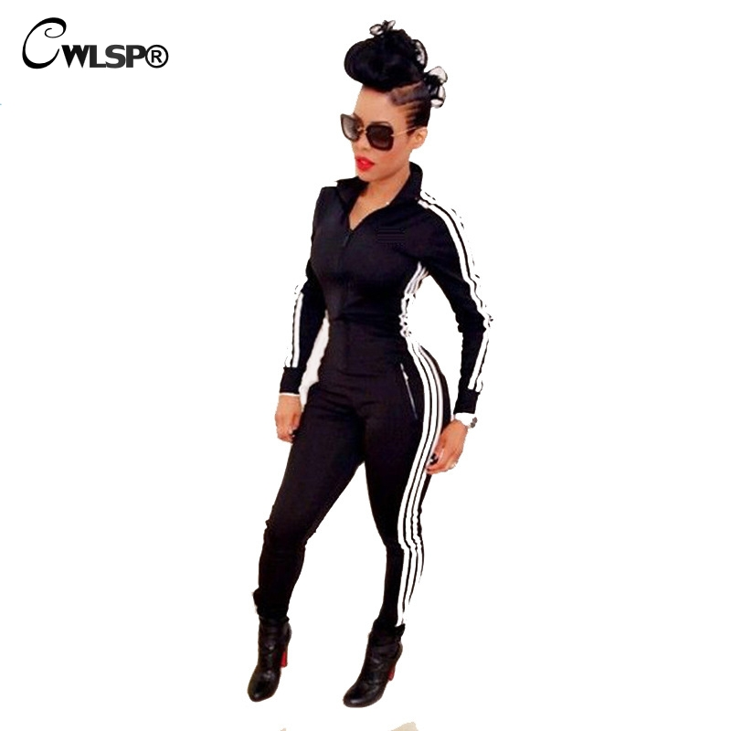 CWLSP Fashion Casual Spring Side Striped Rompers Women Jumpsuit Tight Slim Zipper Fall Sleeve Overalls Tracksuit QL1870