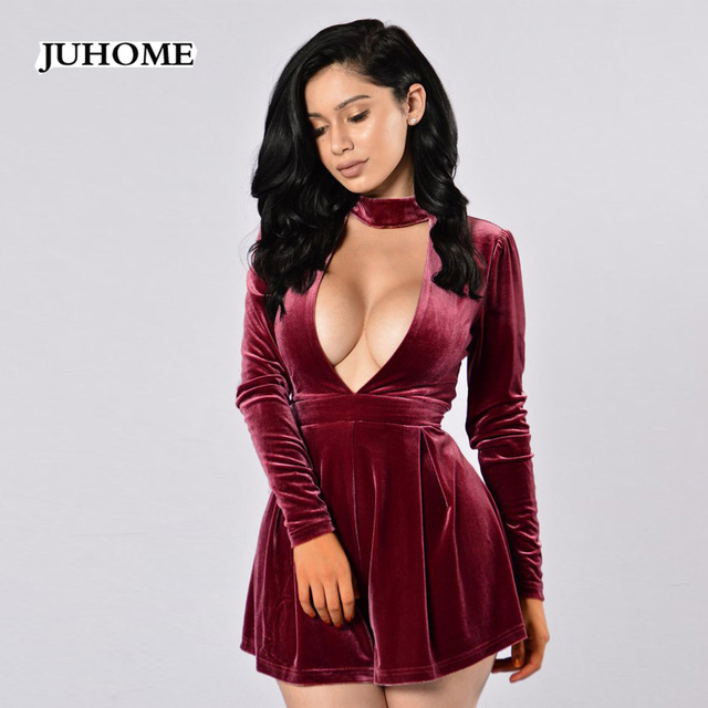 90e98bc925a7 2018 Autumn Sexy Deep V-Neck Velvet Fashion Jumpsuit Romper Women Long  Sleeve Overalls Club Short Pants Elegant Playsuits Sashes