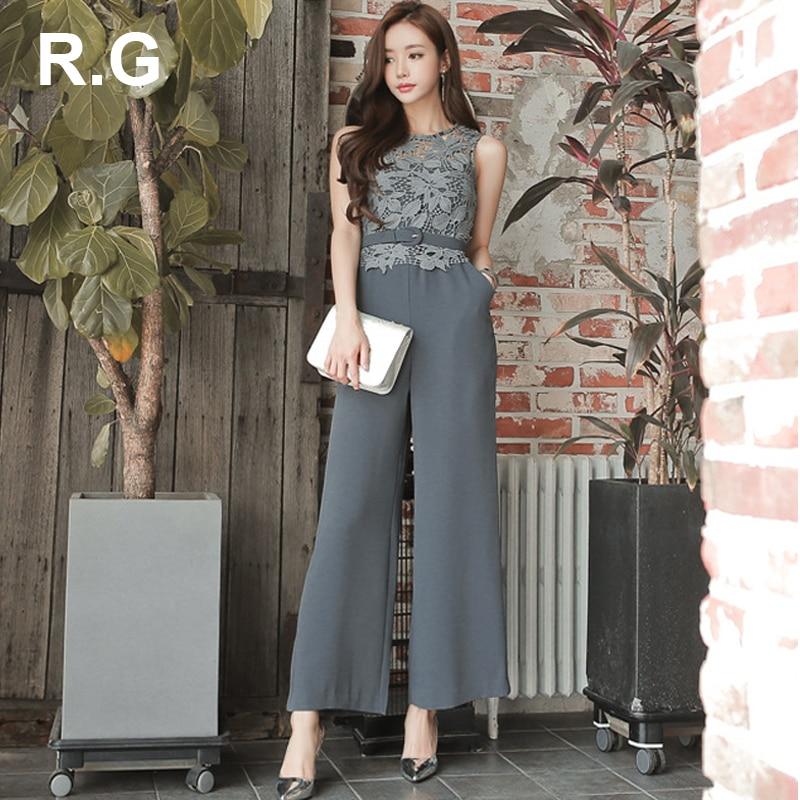RG Elegant Lace Patchwork Rompers Womens Jumpsuit Women Wide Leg Pant Bodysuit Romper Summer combinaison pantalon femme elegante