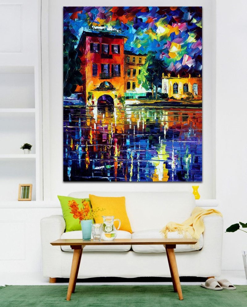 Attractive City Building 100 Hand painted Palette font b Knife b font Canvas Painting Architecture Art