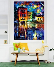Attractive City Building 100% Hand-painted Palette Knife Canvas Painting Architecture Art Picture Living Room Bedroom Decoration