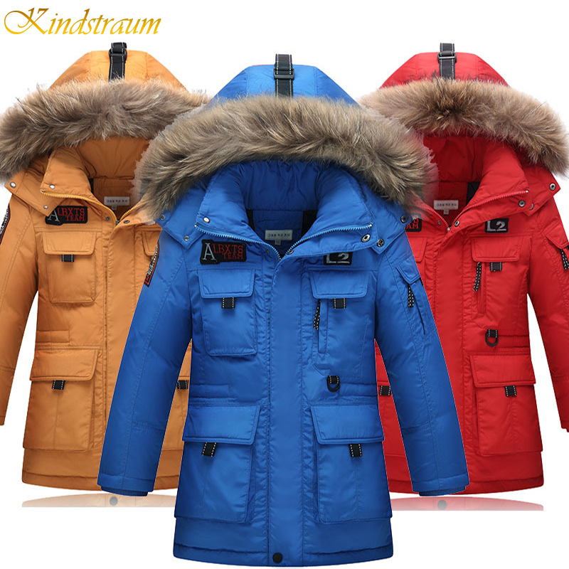 Kindstraum New High Quality Children Winter Down Jacket Boys Warm Sport Coat Teenager 5 Colors Thick Hooded Outwear Parkas,MC217 kindstraum 2017 super warm winter boys down coat hooded fur collar kids brand casual jacket duck down children outwear mc855