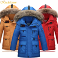 Kindstraum New High Quality Children Winter Down Jacket Boys Warm Sport Coat Teenager 5 Colors Thick Hooded Outwear Parkas,MC217