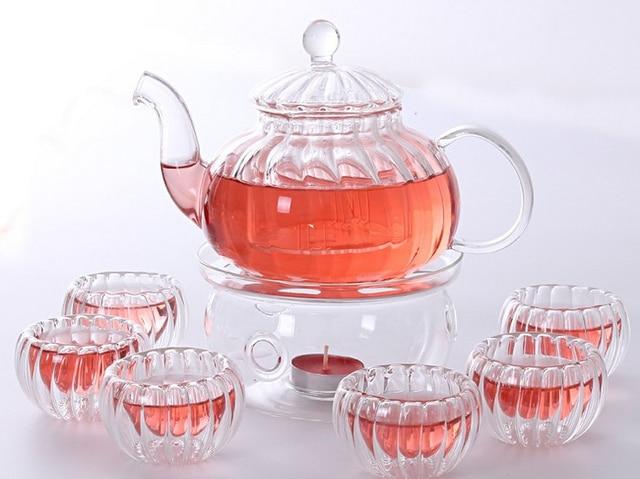 Tealight Warmer Gl Tea Pot 6 Cups Set 600ml Clear Coffee Kettle Infuser Home Kitchen