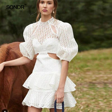 SONDR Solid Hollow Out Sexy Dress For Women O Neck Half Sleeve High Waist Mini Dresses Female Fashion Spring 2019 Summer New