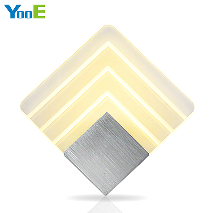 YooE 6W Indoor LED Wall Lamp AC110V/220V Rectangular Acrylic Wall Sconce Lighting bedroom Decorate LED Wall Lights Warm White new design nature white 2heads 6w 30cm led modern crystal wall lights lamp sconce factory wholesale led lightings