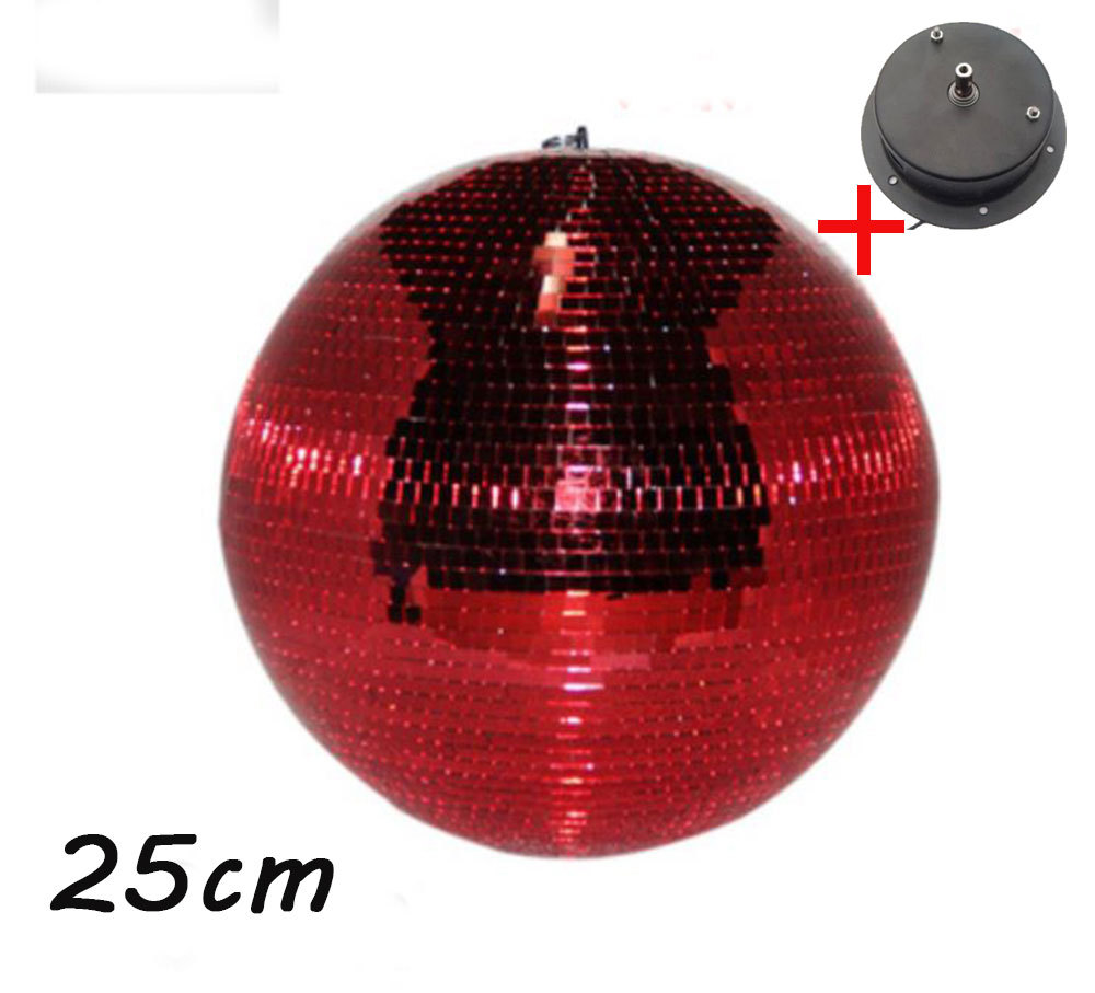 D25cm Diameter Red Glass Rotating Mirror Ball 10 Disco Dj