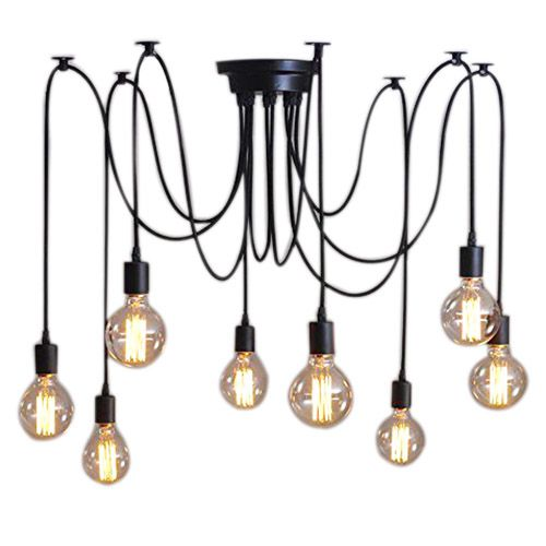 8Lights Vintage Shade Multiple Adjustable DIY Ceiling Spider Lamp Pendent Lighting Chandelier Chic Easy Fit Dining Light Black 10 lights creative fairy vintage edison lamp shade multiple adjustable diy ceiling spider pendent lighting chandelier 10 ligh