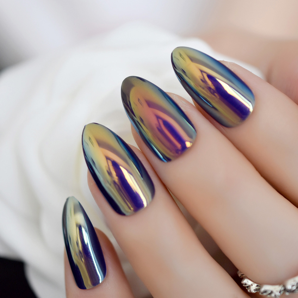 Artificial Nail Tips Silver False Nails Stiletto Metallic Shiny Bling Fake Nail Tips Mirror Chrome