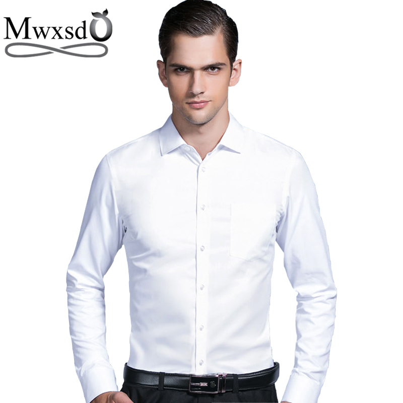 Mwxsd high quality Men's silk cotton formal wedding Shirt long sleeve soft Dress Shirts solid male slim Fit fashion shirt