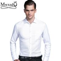 Mwxsd high quality Men's silk cotton formal wedding Shirt long sleeve soft Dress Shirts solid male slim Fit fashion shirt